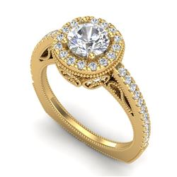 1.55 CTW VS/SI Diamond Solitaire Art Deco Ring 18K Yellow Gold - REF-263H6A - 37117