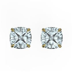 3 CTW Cushion Cut Sky Blue Topaz Designer Stud Earrings 18K Yellow Gold - REF-29M3H - 21767