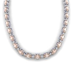 44.25 CTW Morganite & VS/SI Certified Diamond Eternity Necklace 10K White Gold - REF-465Y5K - 29427