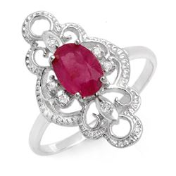 1.35 CTW Ruby & Diamond Ring 18K White Gold - REF-31H3A - 12489