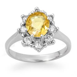 2.50 CTW Yellow Sapphire & Diamond Ring 14K White Gold - REF-55H8A - 13947