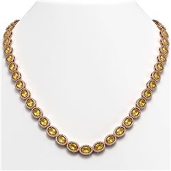 28.52 CTW Fancy Citrine & Diamond Halo Necklace 10K Rose Gold - REF-498M9H - 40443