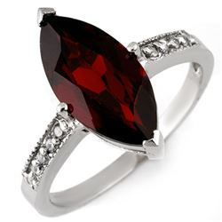 3.10 CTW Garnet & Diamond Ring 10K White Gold - REF-20X4T - 11045