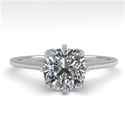 1.0 CTW Certified VS/SI Cushion Diamond Engagement Ring 18K White Gold - REF-317F3N - 35754