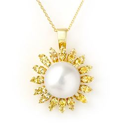 1.50 CTW Yellow Sapphire & Pearl Necklace 10K Yellow Gold - REF-40M2H - 11739