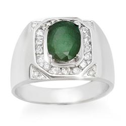 2.60 CTW Emerald & Diamond Men's Ring 14K White Gold - REF-104F5N - 14466