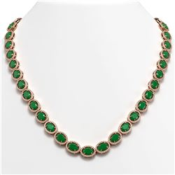 52.15 CTW Emerald & Diamond Halo Necklace 10K Rose Gold - REF-655A3X - 40554