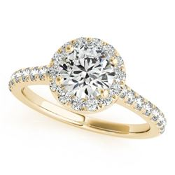 1.7 CTW Certified VS/SI Diamond Solitaire Halo Ring 18K Yellow Gold - REF-428W5F - 26397