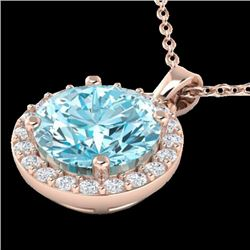 2 CTW Sky Topaz & Halo VS/SI Diamond Micro Pave Necklace 14K Rose Gold - REF-34W2F - 21554