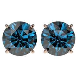 4 CTW Certified Intense Blue SI Diamond Solitaire Stud Earrings 10K Rose Gold - REF-679Y9K - 33138