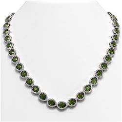 35.13 CTW Tourmaline & Diamond Halo Necklace 10K White Gold - REF-775H5A - 41063