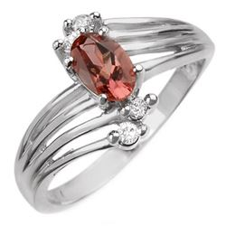 0.65 CTW Pink Tourmaline & Diamond Ring 10K White Gold - REF-22K8W - 10049