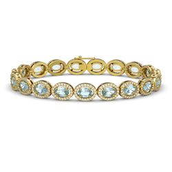 11.02 CTW Aquamarine & Diamond Halo Bracelet 10K Yellow Gold - REF-258T8M - 40477