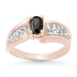 1.40 CTW Blue Sapphire & Diamond Ring 14K Rose Gold - REF-56X8T - 13316