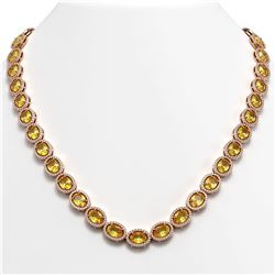46.39 CTW Fancy Citrine & Diamond Halo Necklace 10K Rose Gold - REF-553A6X - 40596