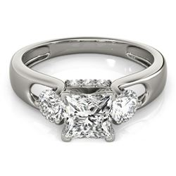 1.35 CTW Certified VS/SI Princess Cut Diamond 3 Stone Ring 18K White Gold - REF-238H2A - 28032