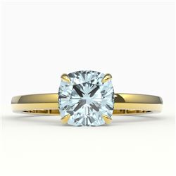 1.50 CTW Cushion Cut Sky Blue Topaz Solitaire Ring 18K Yellow Gold - REF-33F3N - 22167