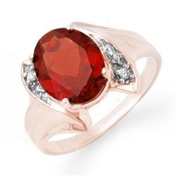 1.64 CTW Garnet & Diamond Ring 10K Rose Gold - REF-16H4A - 12315