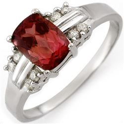 1.41 CTW Pink Tourmaline & Diamond Ring 18K White Gold - REF-42N8Y - 10649