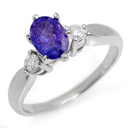 1.25 CTW Tanzanite & Diamond Ring 18K White Gold - REF-53A8X - 11229