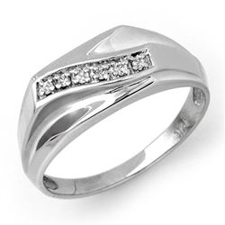 0.06 CTW Certified VS/SI Diamond Men's Ring 10K White Gold - REF-23F3N - 12377