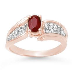 1.43 CTW Ruby & Diamond Ring 14K Rose Gold - REF-56H8A - 13343