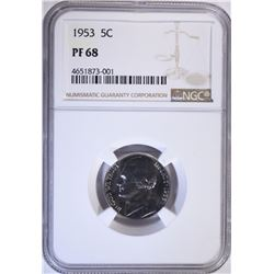 1953 JEFFERSON NICKEL, NGC PF-68