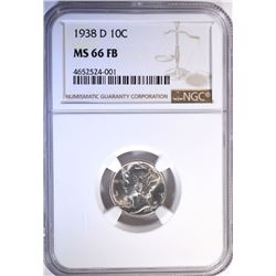 1938-D MERCURY DIME, NGC MS-66 FULL BANDS