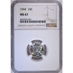 1944 MERCURY DIME, NGC MS-67