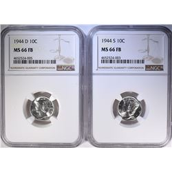 1944-D & 44-S MERCURY DIMES, NGC MS-66 FULL BANDS