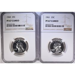 1960 & 61 WASHINGTON QUARTERS, NGC PF-67 CAMEO