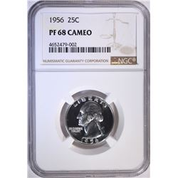 1956 WASHINGTON QUARTER, NGC PF-68 CAMEO