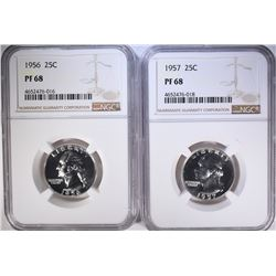 1956 & 57 WASHINGTON QUARTERS, NGC PF-68