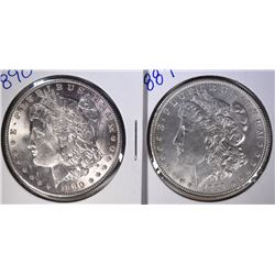 1889 & 1890 MORGAN DOLLARS GEM