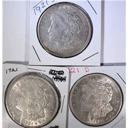 1921 P,D&S MORGAN DOLLARS AU/UNC