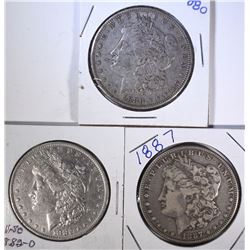 3 - CIRC MORGAN DOLLARS; 1880, 1882-O