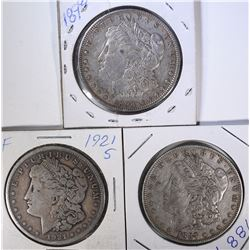 1898, 1887, 1921-S MORGAN DOLLARS