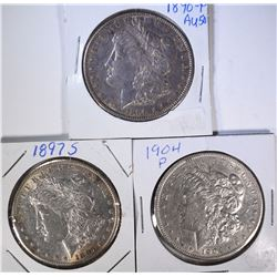 1890, 1897-S, 1904 MORGAN DOLLAR