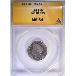 1883 NO CENTS LIBERTY NICKEL ANACS