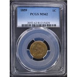 1859 INDIAN HEAD CENT PCGS MS62