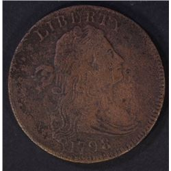 1798 LARGE CENT XF/AU SOME PLANCHET ROUGHNESS