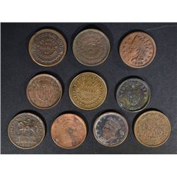 10-LOW GRADE CIVIL WAR TOKENS