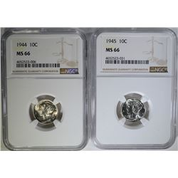 1944 & 1945 MERCURY DIMES, NGC MS-66