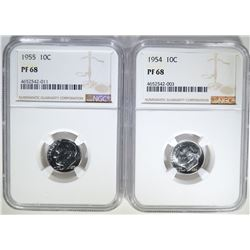 1954 & 55 ROOSEVELT DIMES, NGC PF-68