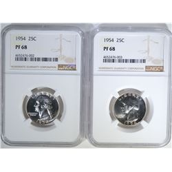 2-1954 WASHINGTON QUARTERS, NGC PF-68