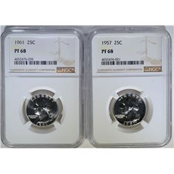 1957 & 61 WASHINGTON QUARTERS, NGC PF-68