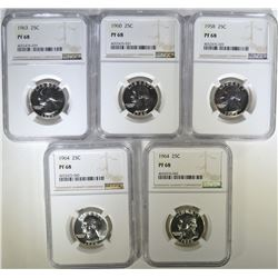 1958, 60, 63 & 2-64 WASHINGTON QUARTERS, NGC PF-68
