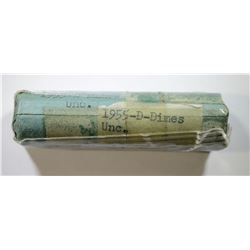 OLD WRAPPED ROLL OF 1955-D ROOSEVELT DIMES