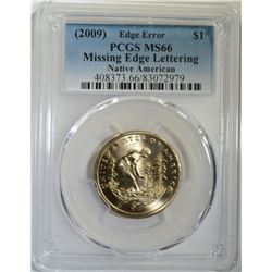 2009 NATIVE AMERICAN DOLLAR, ERROR, PCGS MS-66