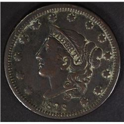 1838 LARGE CENT XF